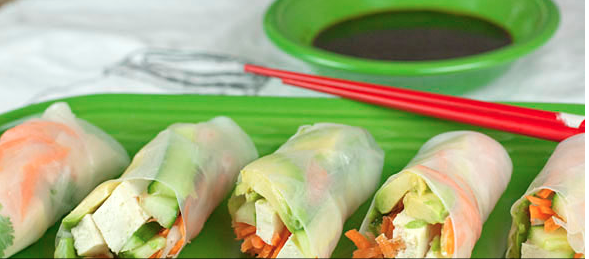 Tasty Spring Rolls with Marinated Tofu