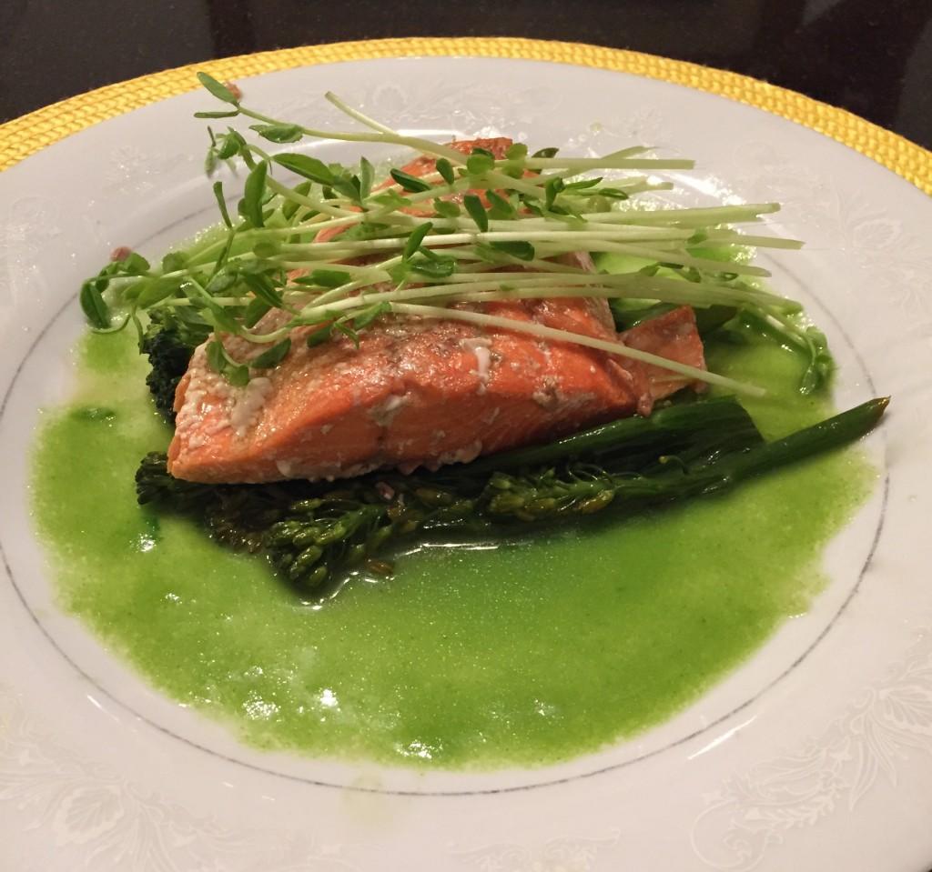 Elegant Entrée of Poached Salmon